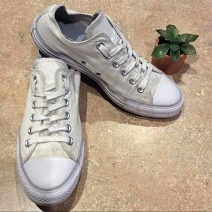 CONVERSE ALL⭐️STAR DUAL TONGUE WHITE LOW TOPS